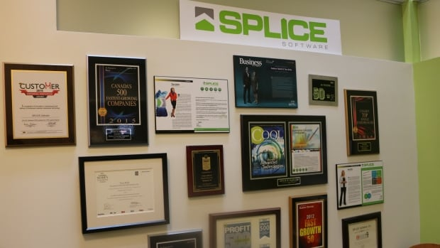 Wall of awards outside the Calgary offices of Splice Software. The tech company has been named one of the country's fastest growing companies for five years running.