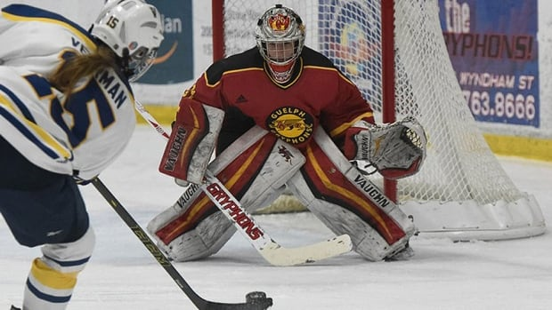 Guelph Gryphons goalie Valerie Lamenta kicked aside 18 shots in her team's 3-0 win over St. Thomas on Thursday to open the Canadian Interuniversity Sport women's hockey championship in Calgary. The sophomore was named Ontario University Athletics MVP in her first season after leading the country in goals-against average (0.99) and save percentage (.957).