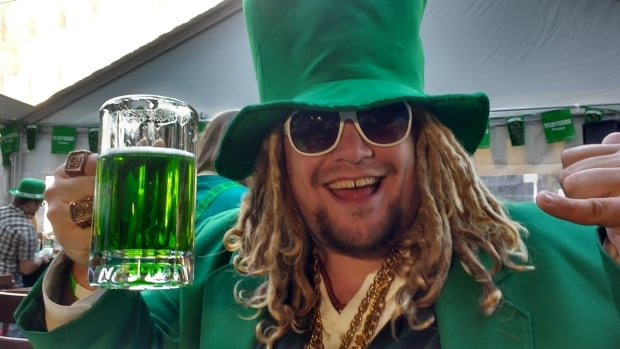 Bricin Stiker Lyons enjoys his green beer at the Blarney Stone.