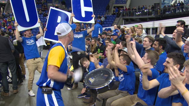 UBC basketball fans cheer on their team during the game on Thursday night.