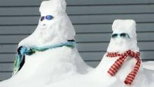Spring storm sunshine snowmen