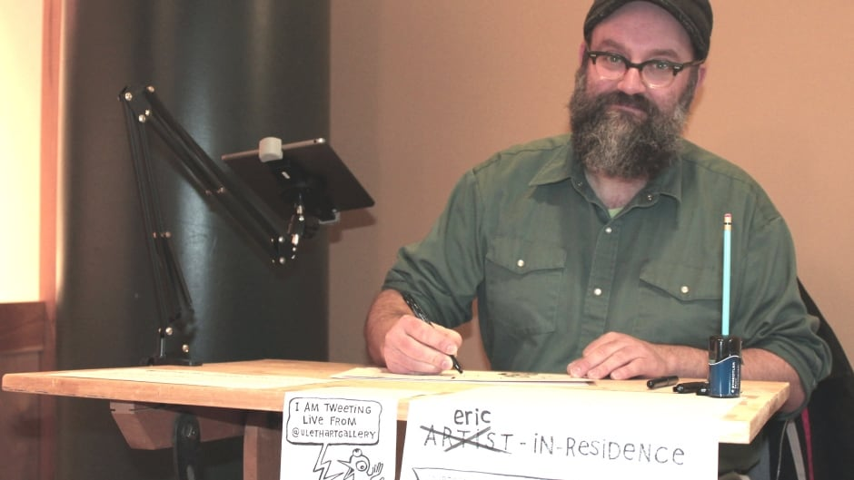 Eric Dyck serves as the University of Lethbridge Art Gallery's cartoonist-in-residence, in early 2016.