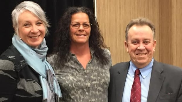 Thunder Bay MP Patty Hajdu and MPP Michael Gravelle flank Lac des Mille Lacs band councillor Tracy Morrison at a funding announcement on Friday in Thunder Bay.