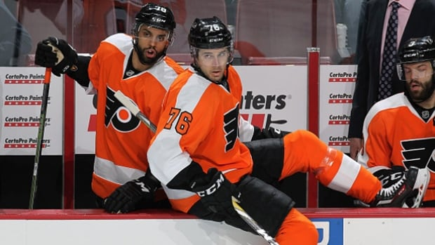 Flyers foward Chris VandeVelde on Friday was suspended two games by the NHL for elbowing Blackhawks forward Jonathan Toews in the head.