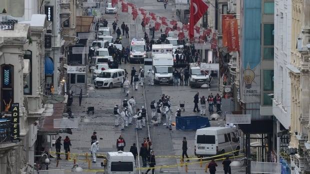 Police closed a major pedestrian area in Istanbul, where a bomb was detonated on Saturday.
