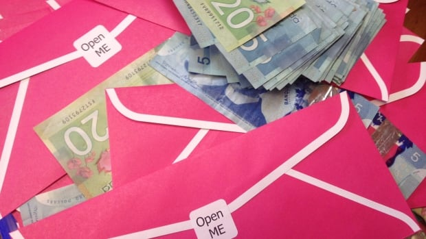 A group has distributed 200 pink envelopes with anywhere between $5 to $50 around Antigonish.