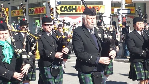 Bagpipers make their way through downtown Ottawa during last year's annual St. Patrick's Day parade.