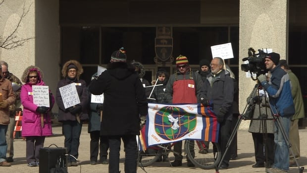 The peace rally in Regina was held in conjunction with rallies in other cities across Canada, including Halifax, Montreal, Ottawa, Toronto, Sudbury, Calgary and Vancouver.