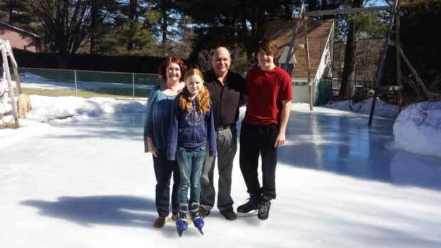 The Moir family have built a giant skating rink in their Nepean backyard — and it's still going strong on the first day of spring.