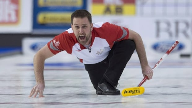 Brad Gushue, seen here during the Brier, led his team to a win over Reid Carruthers at the Elite 10 championship Sunday in Victoria.