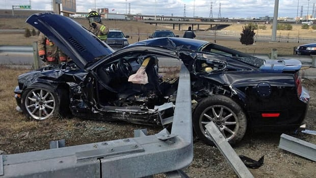 Police say a 17-year-old driver died when this car crashed into a guardrail on southbound Highway 27 early Monday.
