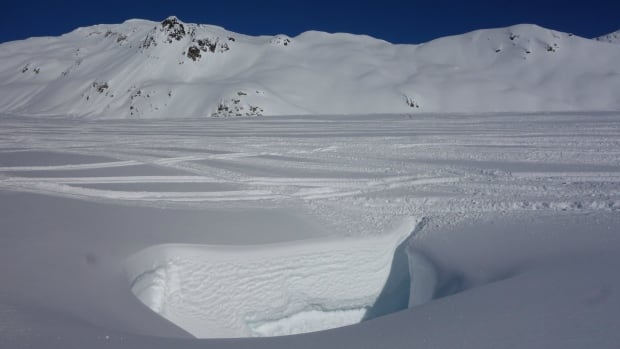 Feb. 23 photo shows the hole or moulin on the Appa Glacier into which the Seattle area snowmobiler drove his sled and died this past weekend.