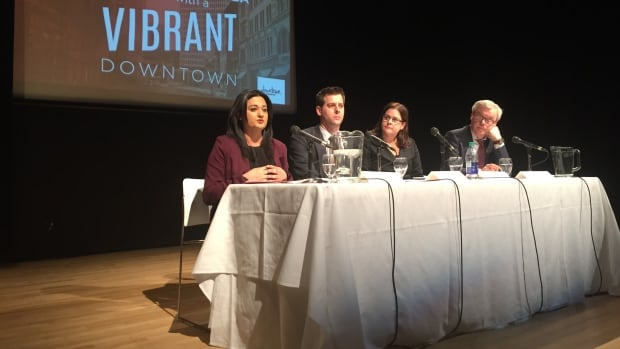 Liberal Leader Rana Bokhari, left, Green Party Leader James Beddome, Progressive Conservative candidate Heather Stefanson and NDP Leader Greg Selinger participate in a debate hosted by the Downtown Winnipeg BIZ on Monday evening.