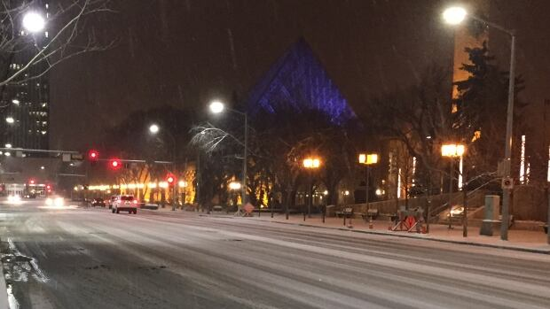 Icy roads were causing delays for Edmonton motorists Monday night.