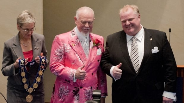 Don Cherry supported Rob Ford throughout his mayorship and presented him with the chain of office in 2010.