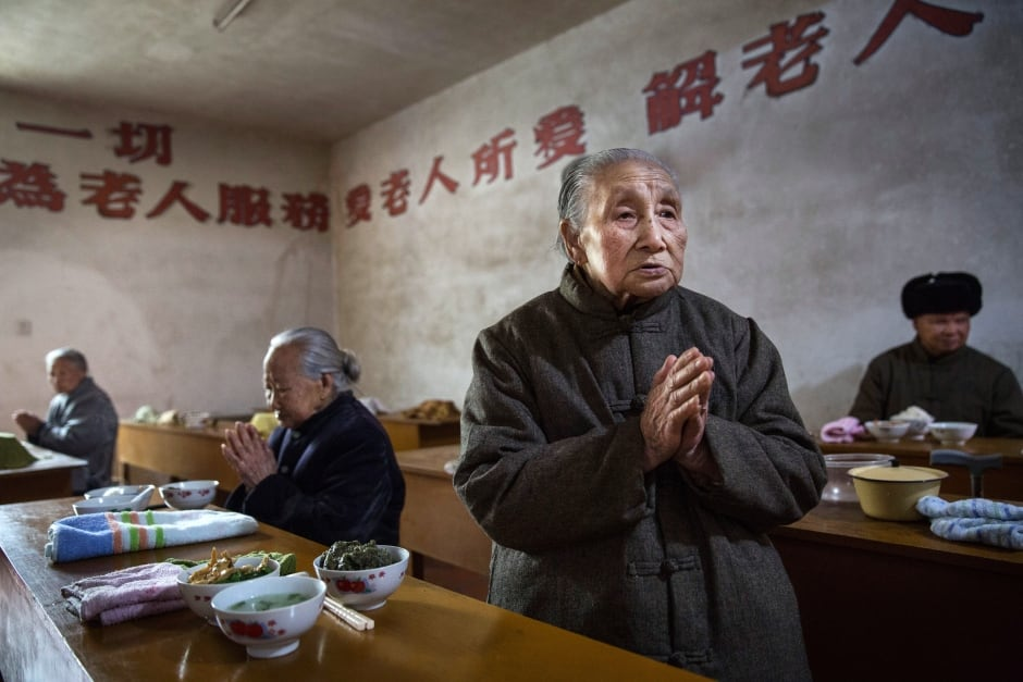 China elderly nursing home Buddhist temple in rural area March 17 2016