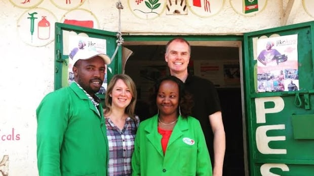 Kevin McKague (at back) is a Cape Breton University researcher who is part of a project to expand a farming supplies shop system in Kenya. Former CBU masters student Jill MacPherson (second from left) is the research project manager. Also pictured are George Kamau and Hellen Wamatiha.