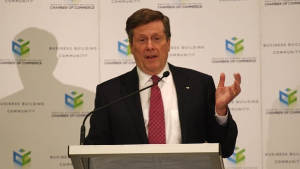 Toronto Mayor John Tory says he supports the idea of two-way, all-day GO train service between his city and Waterloo Region.