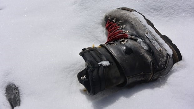 A climber's boot scattered during the avalanche on Mount Everest triggered by the 7.8 magnitude earthquake that hit Nepal on April 25, 2015. Memories of the disaster, which killed 18 people on Everest and thousands more on the ground, is keeping climbers away this spring.