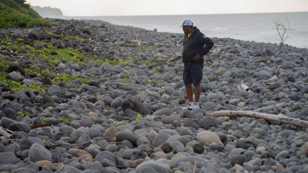 An unidentified man walks on the beach of Saint-Andre, Reunion Island, where debris from the plane was located in 2015.