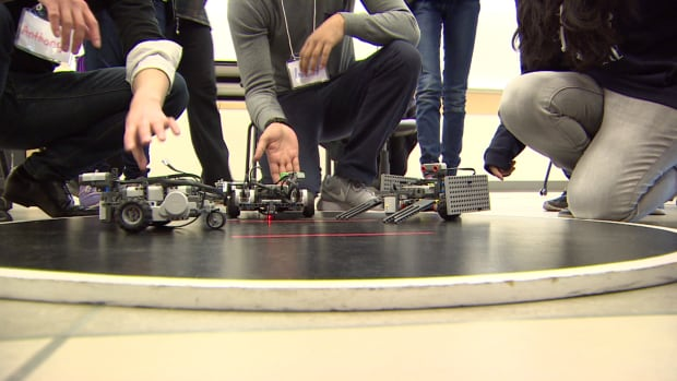 These robots, which were built by elementary school students, are ready to rumble.