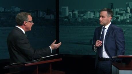 Brad Wall and Cam Broten, leaders debate