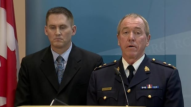 RCMP Staff Sgt. Dale Rockel and Supt. Gary Steinke announce Friday they have arrrested a 59-year-old Red Deer man in the deaths of two indigenous women.