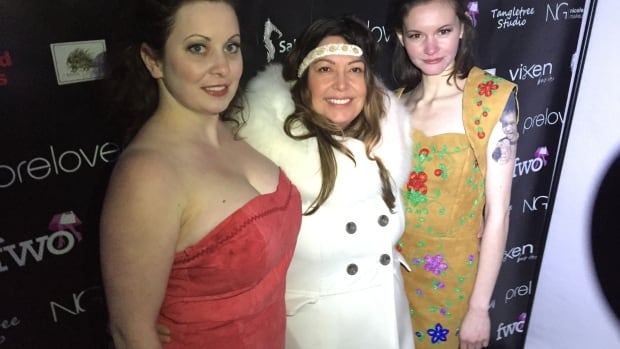 Tishna Marlowe (centre) with two models wearing her 6 Red Beads designs. Her full collection was shown at Yellowknife's snow castle as part of the Best in Snow Fashion Show.