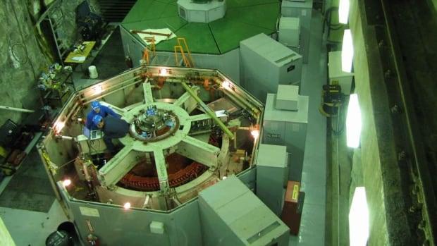 Construction of a third seven megawatt turbine at Yukon Energy's  Aishihik hydro plant in 2011.