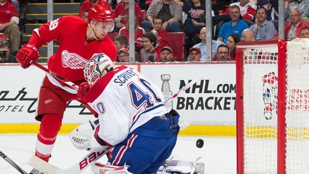 Detroit Red Wings rookie Anthony Mantha scored his first NHL goal on Montreal's Ben Scrivens on Thursday night.