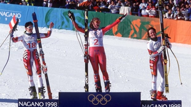 American skier Picabo Street, centre, won Olympic gold in the super-G in Nagano in 1998.