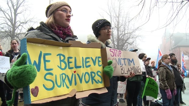 Demonstrators say there meeds to be alternative justice for sexual assault survivors.