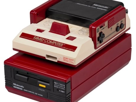 The Famicom Disk System was an add-on for the Famicom, or the Japanese version of the Nintendo Entertainment System. It used proprietary floppy disks and sold about 4.5 million units in Japan. It's the big red brick sitting underneath the Famicom in the image.