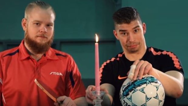 Otto Tenilla and Lassi Hurskainen used a ball from their respective sports to extinguish the flame of a candle.