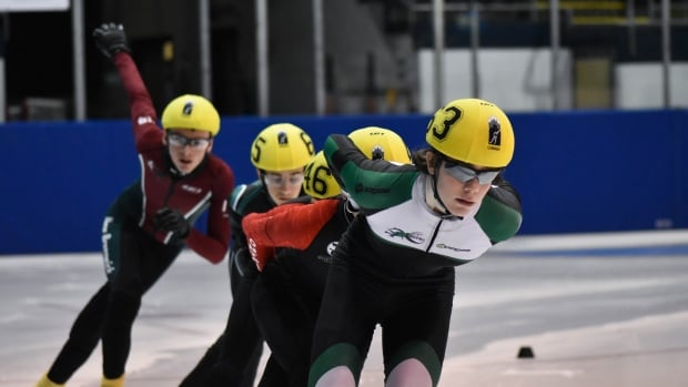 P.E.I. speed skater Andrew Binns, in the lead, finishes in 4th place in the 200m for 12-year-old boys at the Canada East Short Track Championships in Charlottetown.