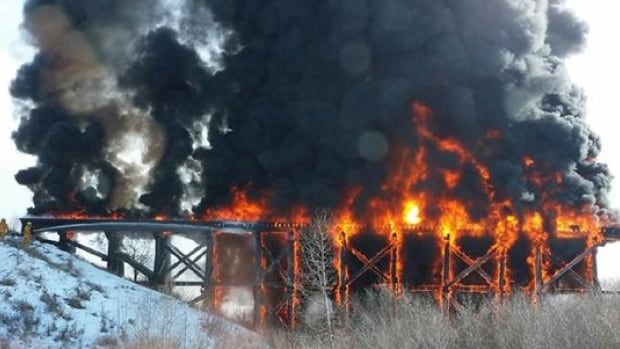 The creosote-soaked timbers of a train bridge near Porcupine Plain, Sask., led to a spectacular fire Friday.