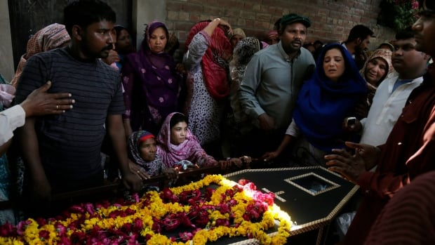 Pakistani-Christians mourn the death of a relative killed in the Easter Sunday suicide bombing in Lahore, Pakistan. The death toll from the attack rose to 70 on Monday.