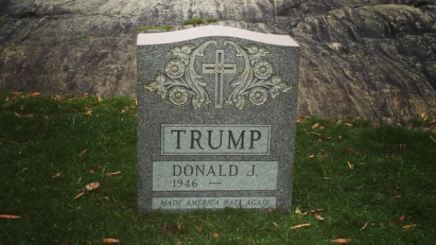 It is not yet known who erected the tombstone with Donald Trump's name on it in Central Park over the weekend. Or how. Or why.