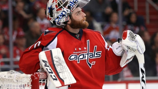 The Capitals' Braden Holtby was not pleased after allowing a goal to Cam Atkinson of the Columbus Blue Jackets but that was the only goal he allowed as the Capitals' wrapped up the Presidents' Trophy and home ice throughout the playoffs with a 4-1 victory.