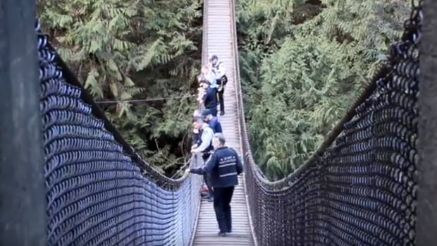 North Vancouver fire and police crews search for a young man seen jumping from a cliff near the Lynn Canyon suspension bridge.