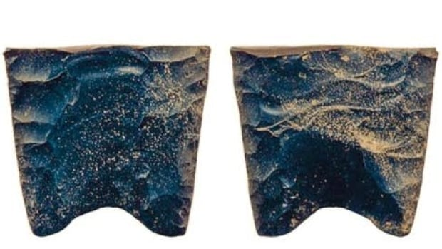 A photo of the Clovis point found near Fort St. John. The pictured fragment is about 2.5 centimetres long.