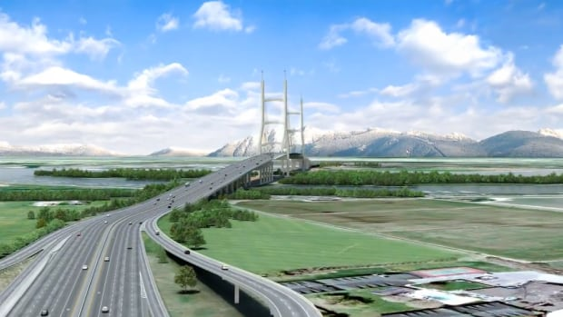 The B.C. NDP has said it will defer to the Metro Vancouver Mayors' Council on the future of the George Massey Tunnel. The B.C. Liberals championed a 10-lane replacement bridge (artist's rendering pictured) for the tunnel.