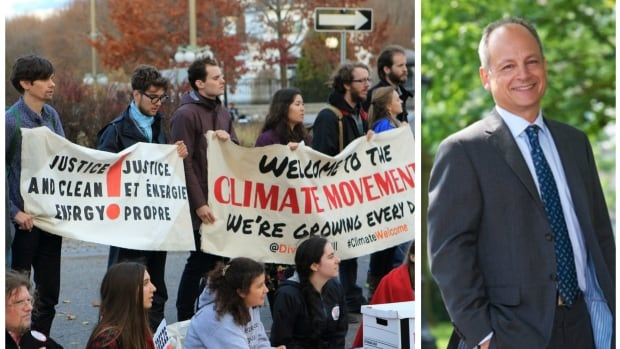 Students at the University of Toronto at a rally, demanding their school divest from fossil fuel holdings. On Wednesday March 30, the university's president Meric Gertler (right) rejected calls for the school to divest from its holdings in the fossil fuel industry.