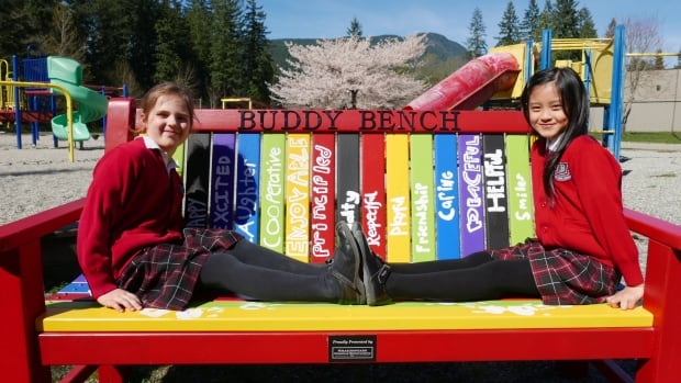 Brockton School's Grade 2 class helped decorate the buddy bench. The bench is meant to promote inclusion and kindness on the playground.