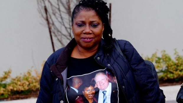 This Rob Ford supporter says she had her T-shirt made especially for the celebration of Ford's life Wednesday night at the Toronto Congress Centre.