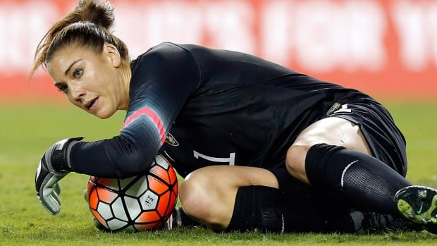 Goalkeeper Hope Solo is one of five U.S. women's soccer players have accused the U.S. Soccer Federation of wage discrimination in an action filed with the Equal Employment Opportunity Commission. Alex Morgan, Carli Lloyd, Megan Rapinoe, Becky Sauerbrunn and Solo maintain in the EEOC filing they were paid nearly four times less than their male counterparts on the U.S. men's national team.