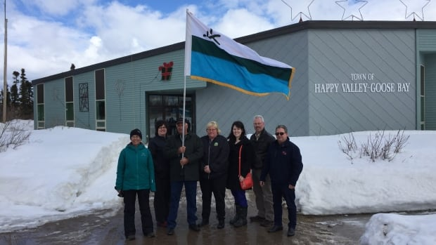 A small group of Happy Valley-Goose Bay residents gathered on Thursday to raise the Labrador flag at town hall.