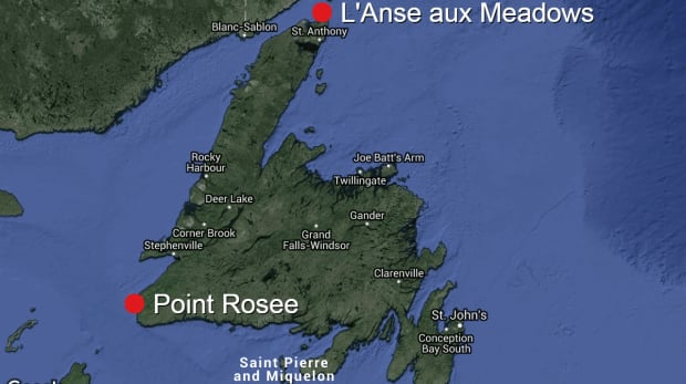 Point Rosee viking map L'Anse aux Meadows