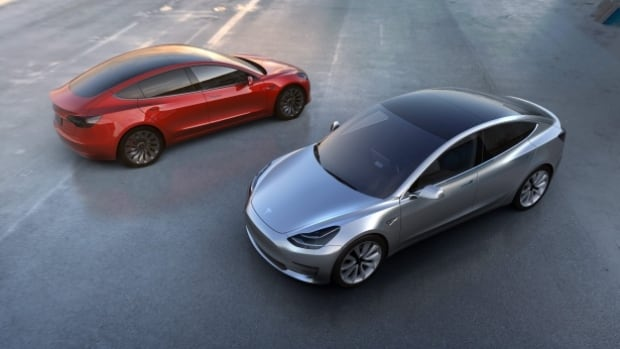 The Tesla Model 3 electric car was unveiled in Hawthorne, Calif., this month. The company says it has about 300,000 pre-orders for the vehicles.