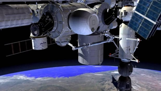 An artist's conception of the inflated BEAM module berthed to the Tranquillity node of the International Space Station. Astronauts will enter the module a few times a year to gather performance data and inspect the structure. Following the test period, the module will be jettisoned from the station, burning up on re-entry.